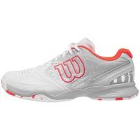 Дамски маратонки за тенис Wilson Kaos Comp W - white/pearl blue/fiery coral